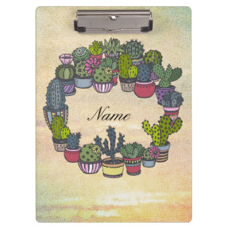 Personalized Cactus Wreath Clipboard