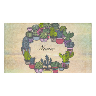 Personalized Cactus Wreath Name Tag