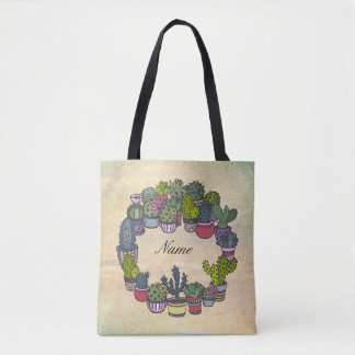 Personalized Cactus Wreath Tote Bag