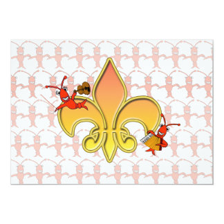 Personalized Cajun Crawfish Fleur de Lis Invite