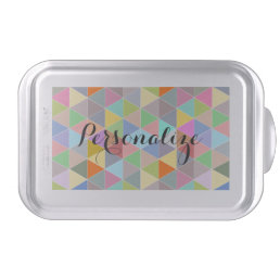 Personalized cake pan with colorful triangle print