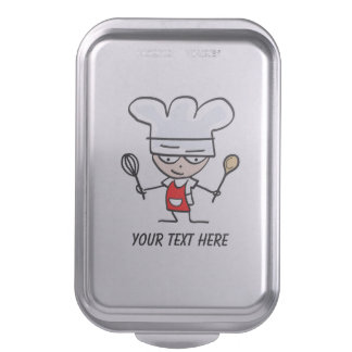 Personalized cake pan with funny chef cartoon