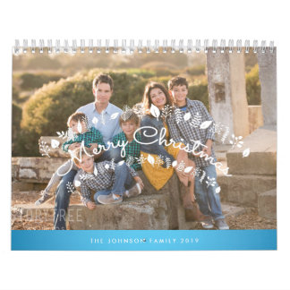 Personalized Calendar 2019 Blue Merry Christmas