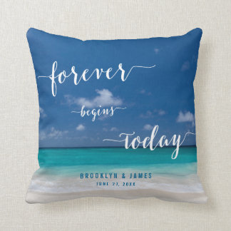 Personalized Calligraphy Beach Wedding Pillows