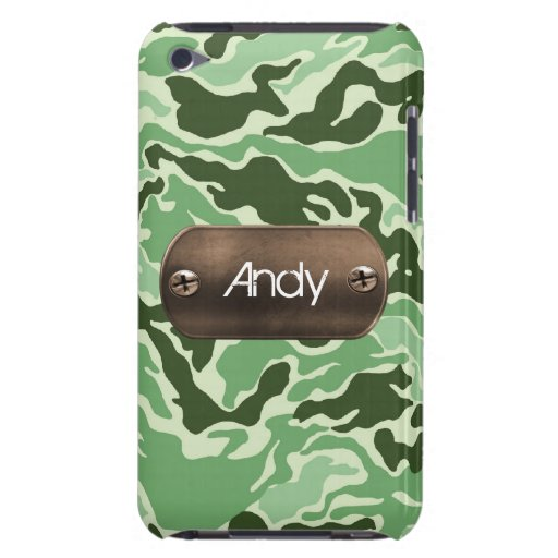 personalized camo army green barely there iPod covers