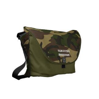 Personalized Camoflauge Green/Black Tote Bookbag Messenger Bag