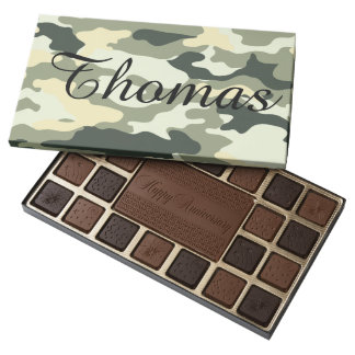 Personalized Camouflage Box of Chocolate Candy 45 Piece Assorted Chocolate Box