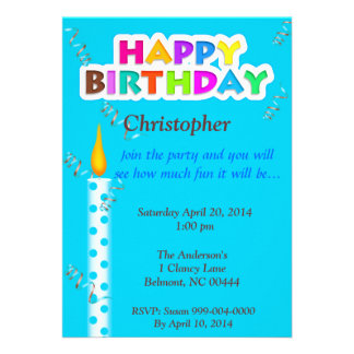 Personalized Candle Happy Birthday Invitation