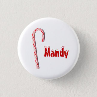 Personalized Candy Cane Button
