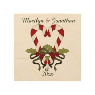 Personalized Candy Cane Hearts Wood Canvas