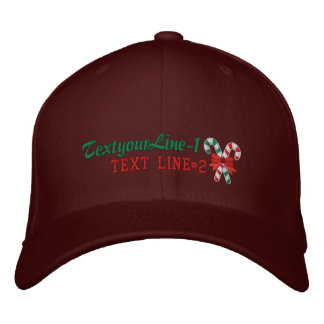Personalized Candy Canes for the holidays Embroidered Baseball Cap
