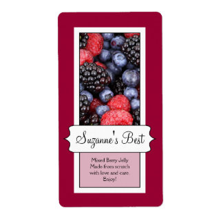 Personalized Canning Jar Label, Berries Label