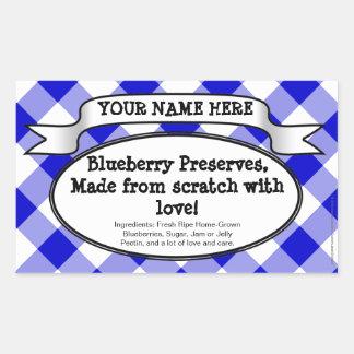 Personalized Canning Jar Label, Blue Gingham Jam Rectangular Sticker