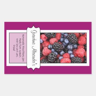 Personalized Canning Jar Label, Custom Berries Rectangular Sticker