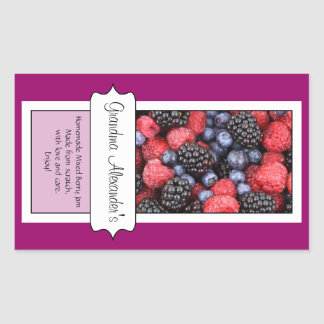 Personalized Canning Jar Label, Custom Berries Rectangle Sticker