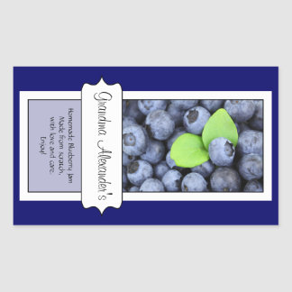 Personalized Canning Jar Label, Custom Blueberry Rectangular Sticker