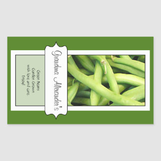 Personalized Canning Jar Label, Custom Green Beans Rectangular Sticker