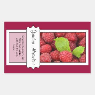 Personalized Canning Jar Label, Custom Raspberry Rectangular Sticker