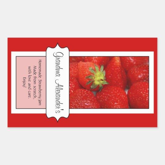 Personalized Canning Jar Label, Custom Strawberry Rectangular Sticker