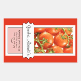 Personalized Canning Jar Label, Custom Tomato Rectangular Sticker