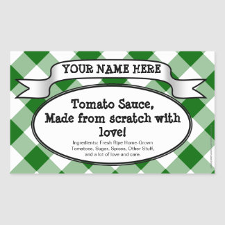 Personalized Canning Jar Label, Green Gingham Jam Rectangular Sticker