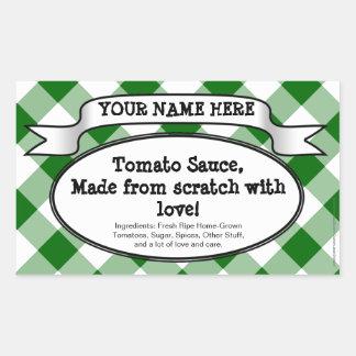 Personalized Canning Jar Label, Green Gingham Jam Rectangular Sticker