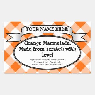 Personalized Canning Jar Label, Orange Gingham Jam Rectangular Sticker