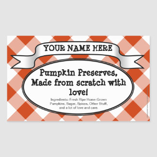 Personalized Canning Jar Label, Orange Gingham Rectangular Sticker