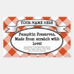 Personalized Canning Jar Label, Orange Gingham Rectangle Sticker