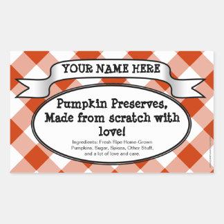 Personalized Canning Jar Label, Orange Gingham Rectangular Sticker