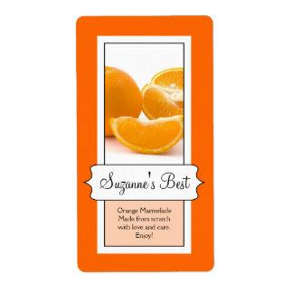 Personalized Canning Jar Label, Orange Label