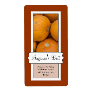 Personalized Canning Jar Label, Pumpkin Label