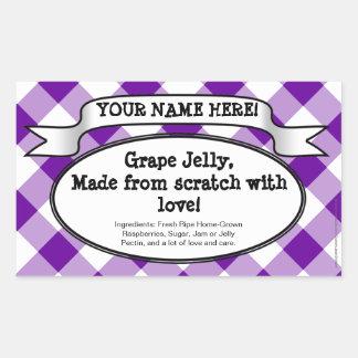 Personalized Canning Jar Label, Purple Gingham Jam Rectangular Sticker