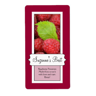 Personalized Canning Jar Label, Raspberry Label