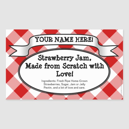 Personalized Canning Jar Label, Red Gingham Jelly