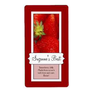 Personalized Canning Jar Label, Strawberry Label
