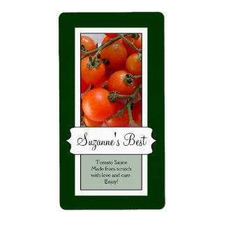 Personalized Canning Jar Label, Tomato Label