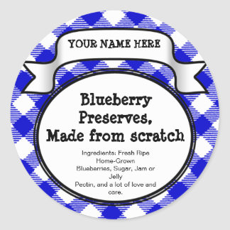 Personalized Canning Jar/Lid Label, Blue Gingham Classic Round Sticker