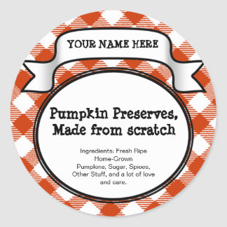 Personalized Canning Jar/Lid Label Pumpkin Gingham Classic Round Sticker
