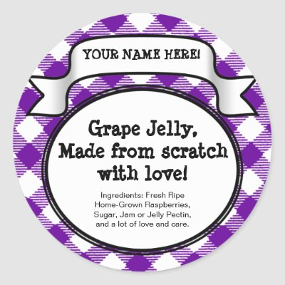 Personalized Canning Jar/Lid Label, Purple Gingham Round Stickers