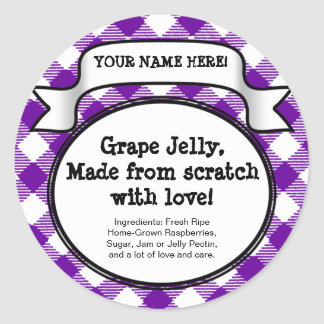 Personalized Canning Jar/Lid Label, Purple Gingham Classic Round Sticker