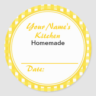 Personalized Canning Jar  Stickers Yellow Checks