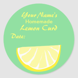 Personalized Canning Label Round Sticker Lemon