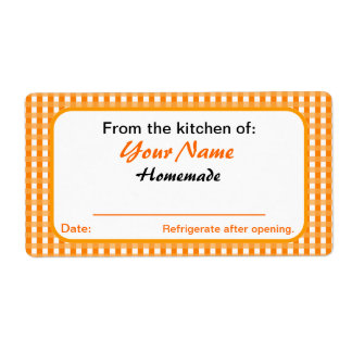 Personalized Canning Labels for Jars Orange Checks