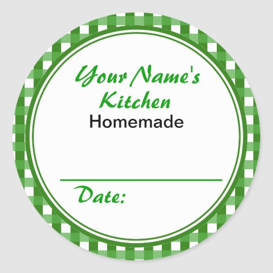 Personalized Canning Labels Round Sticker Green