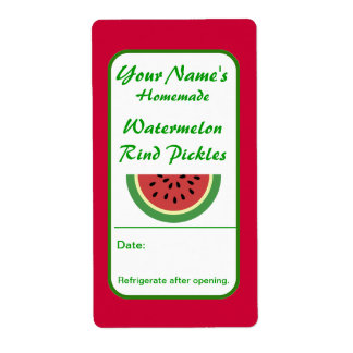 Personalized Canning Labels Watermelon Rind Pickle