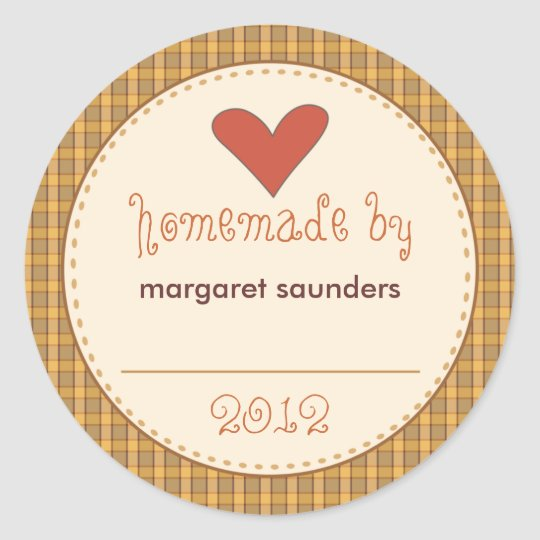 Personalized Canning Stickers - Round Amber Plaid