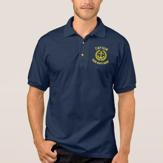 Personalized captain and boat name with anchor polo shirt