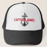 """Personalized Captain Black Vintage Anchor Trucker Hat<br><div class=""""desc"""">Personalize this lucky fishing cap for your favorite &quot;Captain&quot;. Black and white nautical design.  Red spray paint style font typeface. Customize the font style,  size and change to your favorite color. Retro vintage anchor shape customized or adapted from a vector clip art image officially licensed &#169; Graphics Factory.com.</div>"""