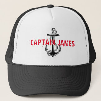Personalized Captain Black Vintage Anchor Trucker Hat